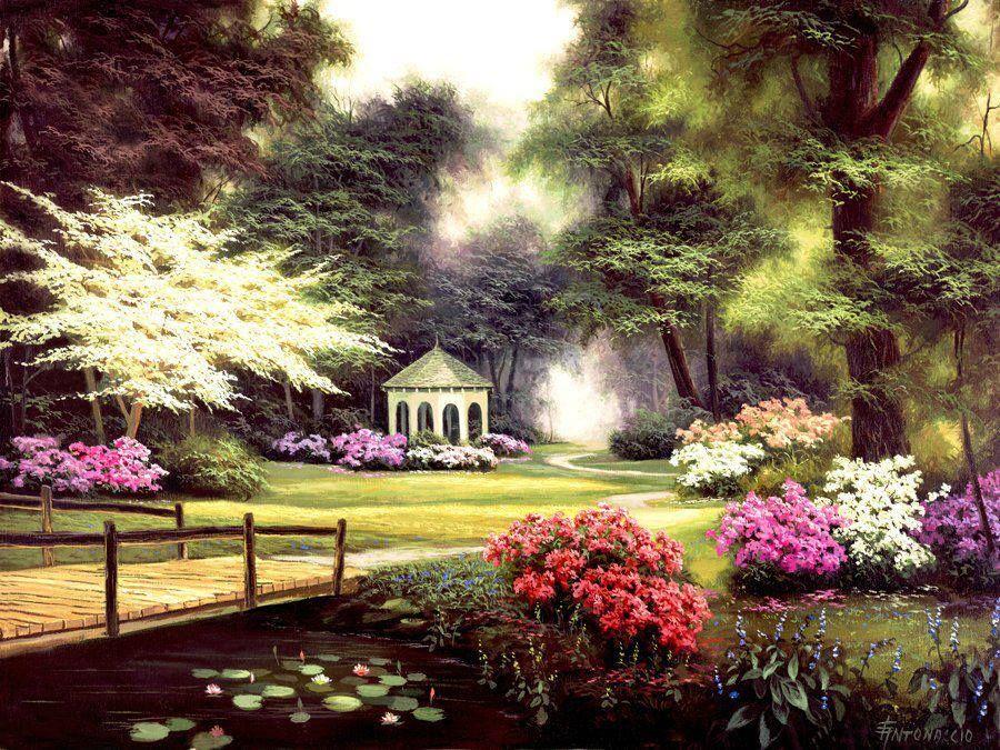 Flower Garden Gazebo : Flower garden with gazebo.  Paintings of Landscapes  Pinterest