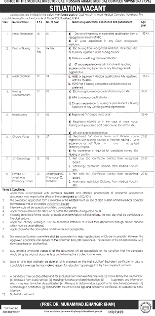 Government Jobs Kpk Charge Nurses Head Nurses Director Nursing
