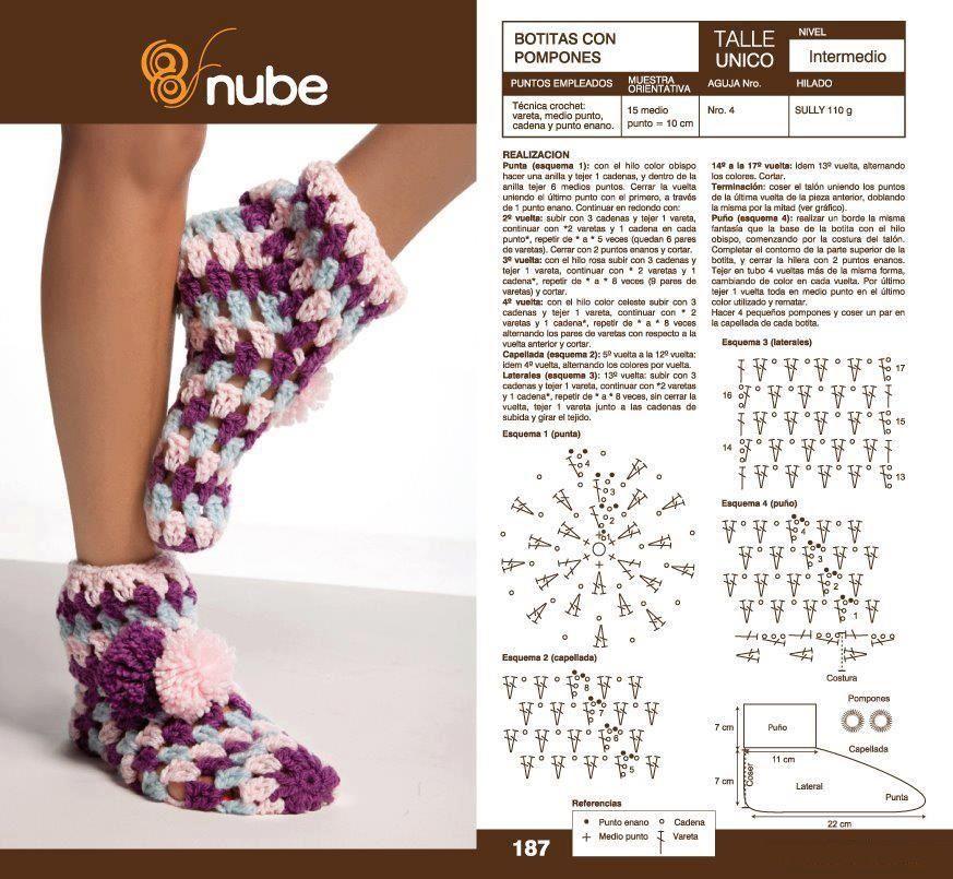 Patrones para Crochet: Calcetines Botitas con Pompon | Crochet ...