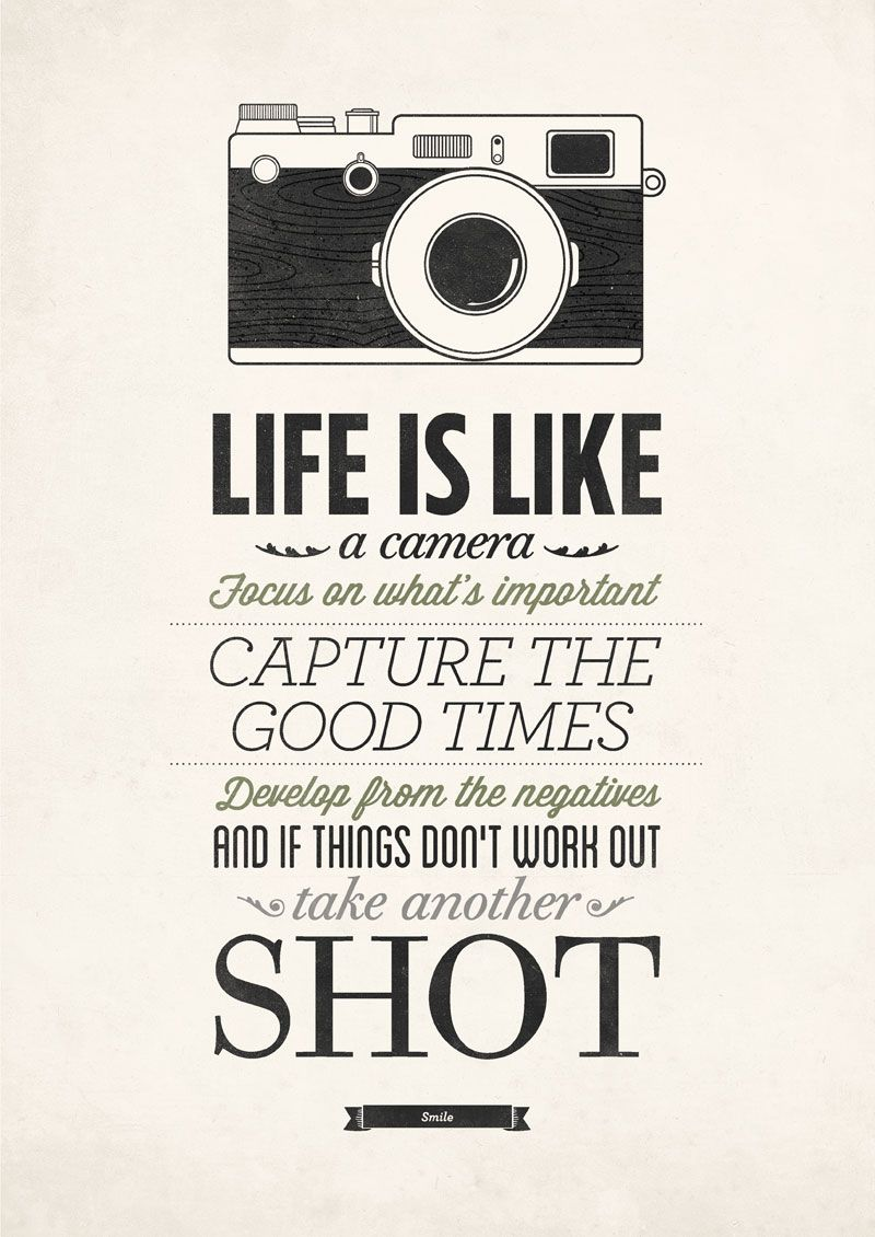 Life Is Like A Camera Poster by Neuegraphic Camera