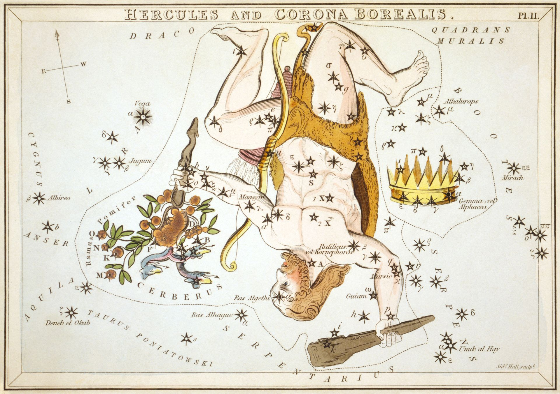 From Urania/'s Mirror ARIES AND MUSCA BOREALIS Astronomy 1825 Poster 24X36