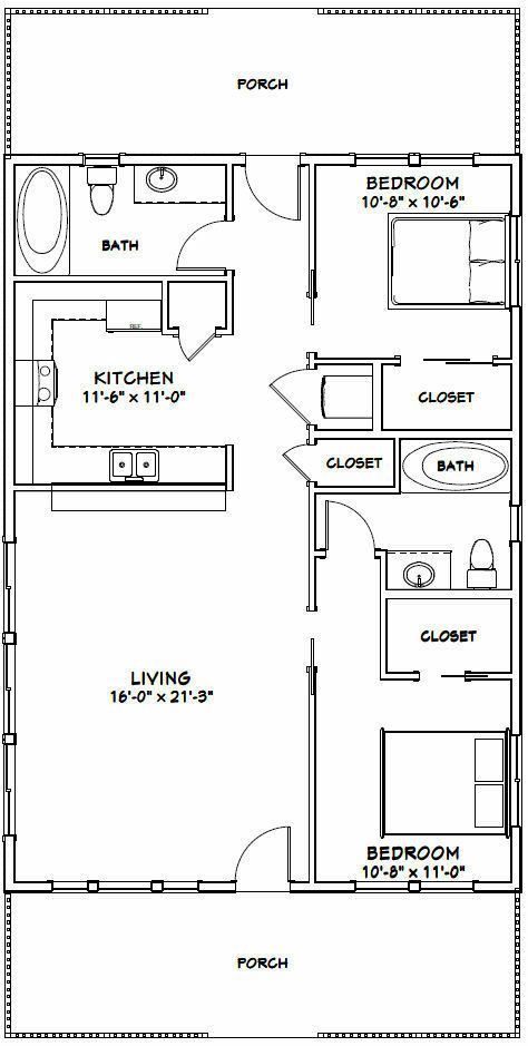 28x40 House 2 Bedroom 2 Bath Pdf Floor Plan 1 120 Sq Ft Model 1a 29 99 Picclick Mas Tiny House Floor Plans Tiny House Plans Cabin Floor Plans