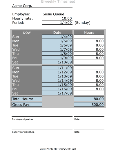 Simple Biweekly Timesheet Printable Time Sheets Free To Download