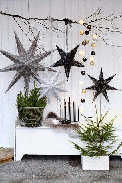 WEIHNACHTSDEKORATION HAUSEINGANG,SKANDINAVISCH, STERNE BASTELN - contemporary christmas decorations