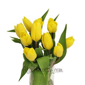 FiftyFlowers.com - Yellow Bulk Fresh Tulips