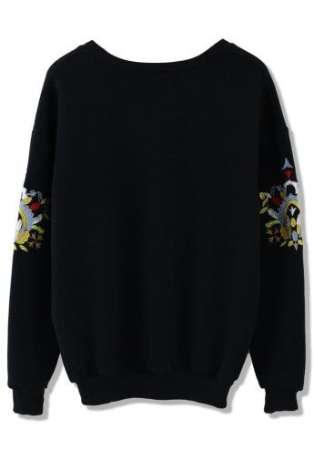 Black Sweater with Embroidered Sleeves