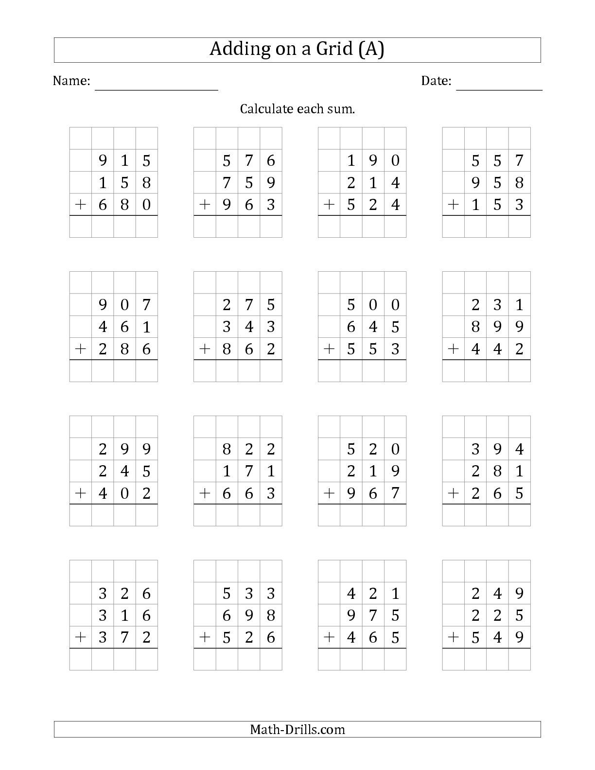 The Adding Three 3-Digit Numbers on a Grid (A) math worksheet from ...