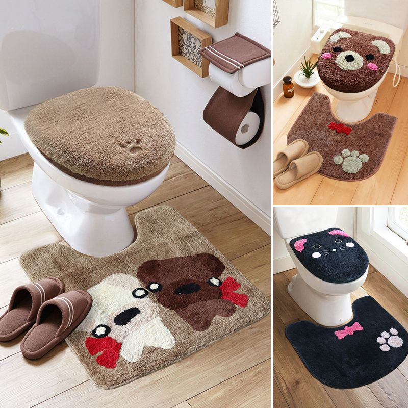 3pcs Set Winter Thicken Warmer Washable Toilet Set Bath Mat