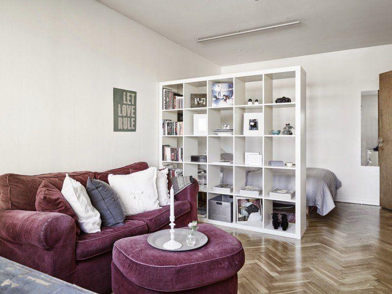 Merveilleux Etagere De Separation Ikea #4: étagères Ikea Kallax En Blanc Acrylique Et Mobilier En Velours Violet