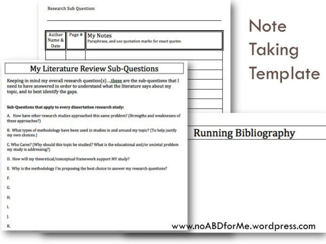 Note Taking for the Literature Review Literature, Note and School - compliance manual template
