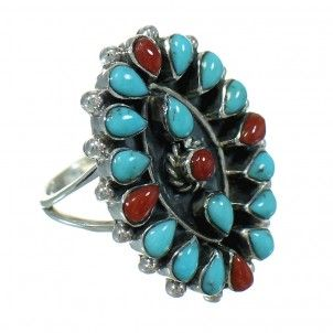Turquoise And Coral Authentic Sterling Silver Southwest Ring Size 6-1/2 AX82047-0