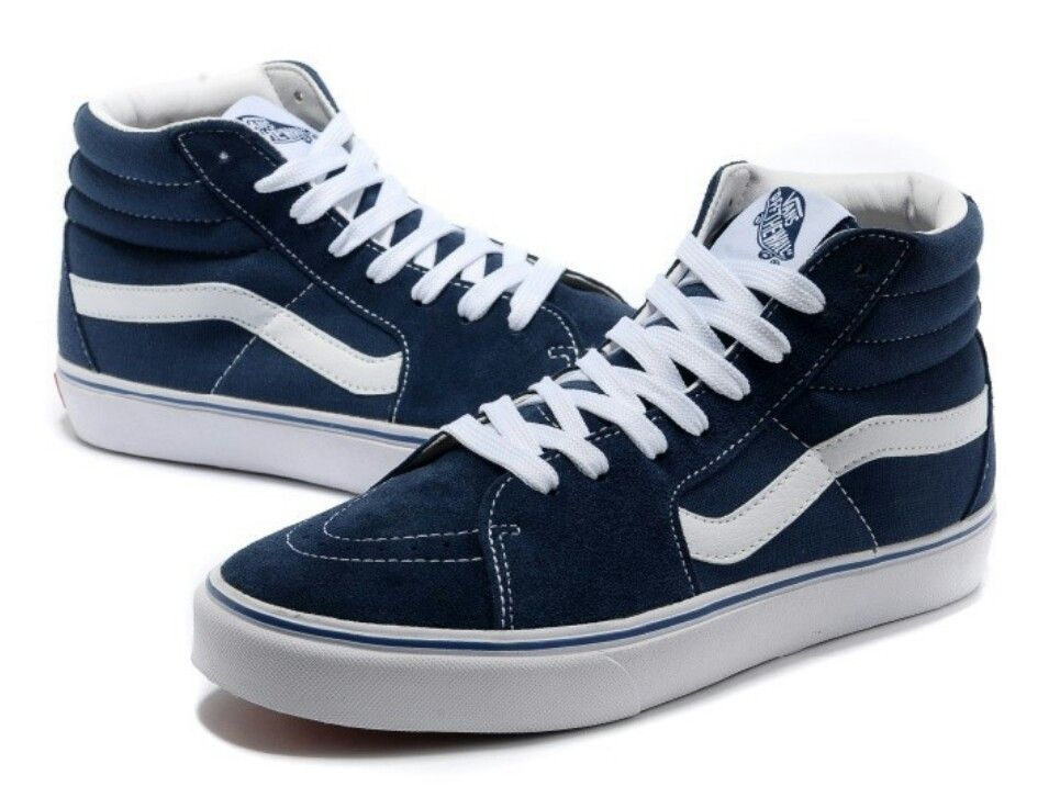 3e90990f170656 Navy Blue and White Hightop Vans