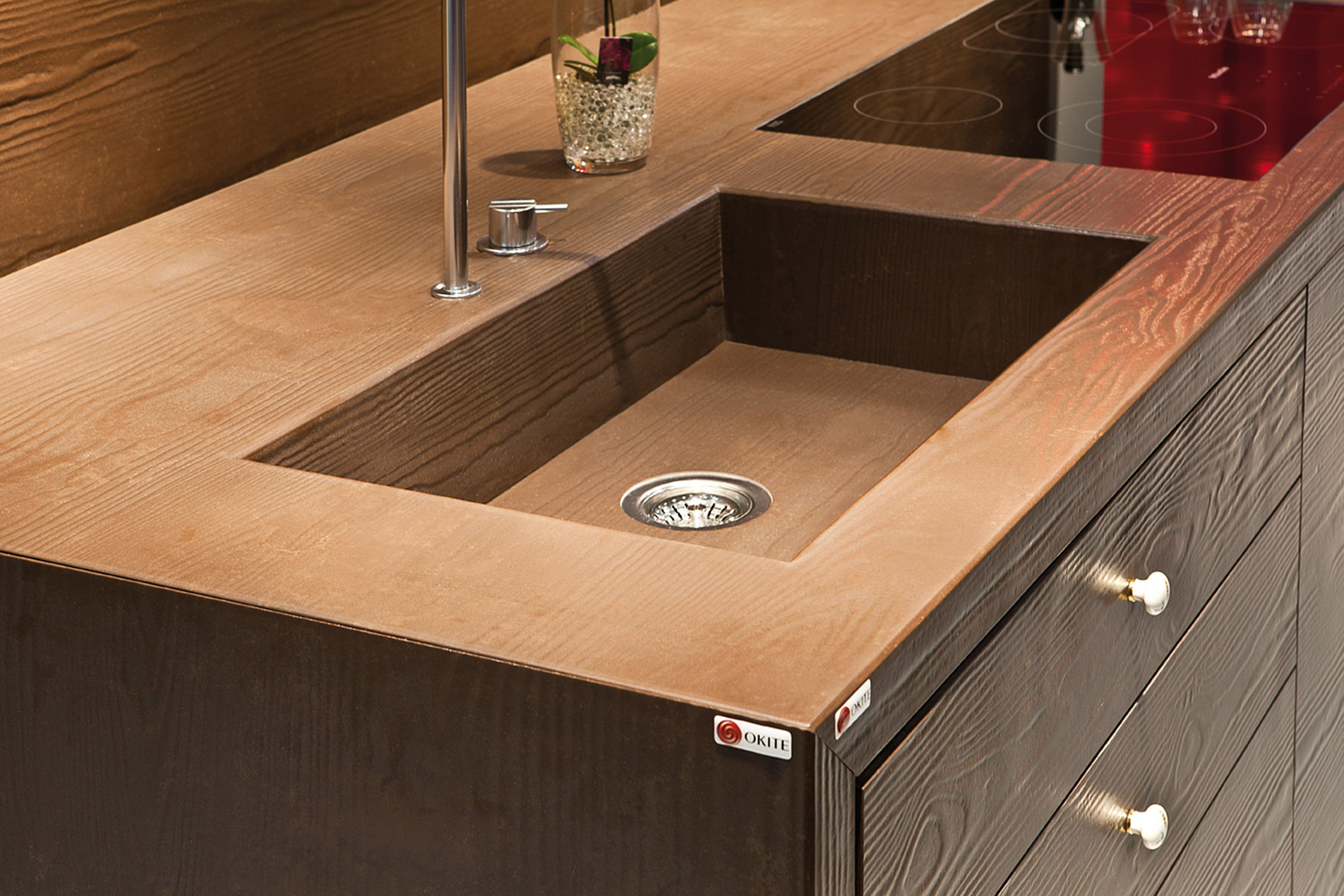 Okite Effeto Legno Oak all-in-one sink and worktop. Featured ...