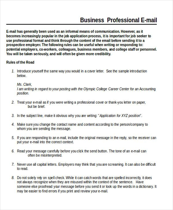 sample business letter format example samples word pdf - professional email template