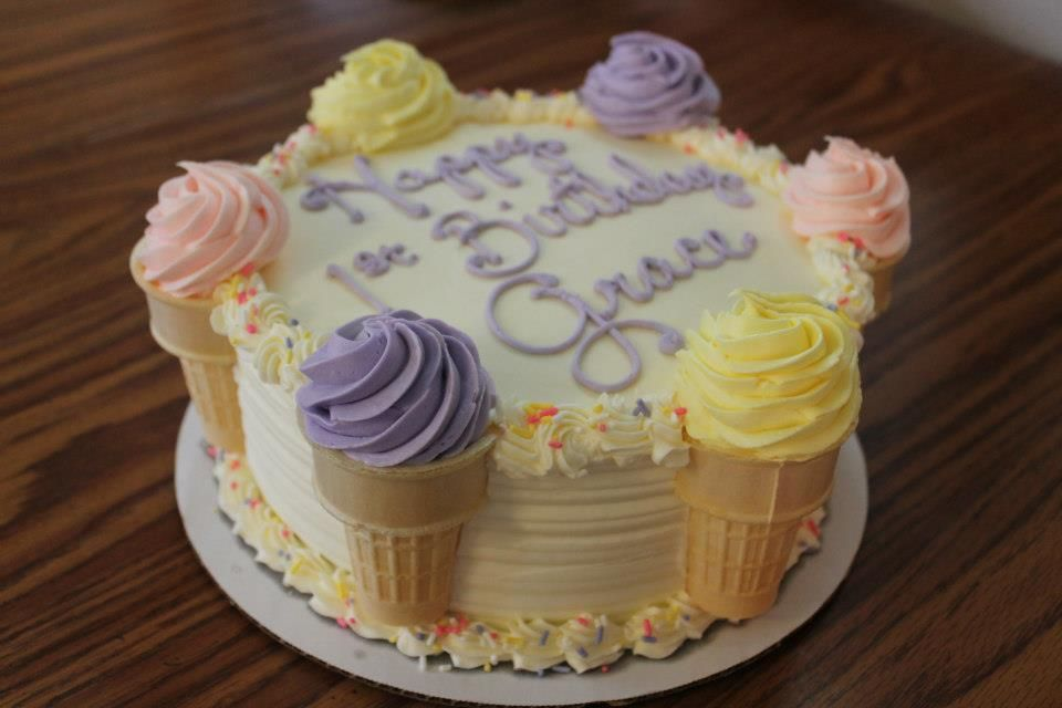 cake+with+ice+cream+cones Birthday Cakes Sweet ...