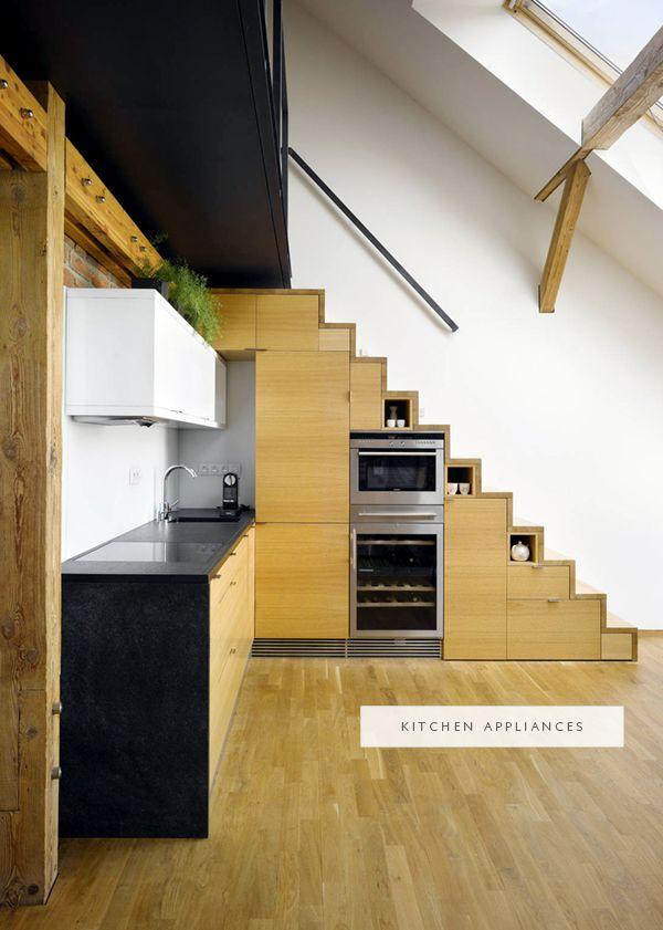 Kitchen Appliances And Storage Built-In Under Stairs| Coco+Kelley