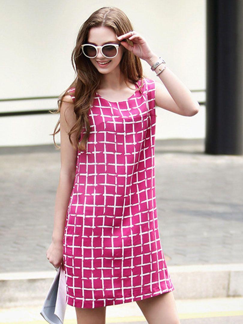 Vestido Sin Manga Fruncido A Cuadros De Color Fushcia | Style ...
