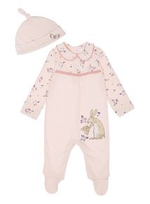 23902b2902e Girls Pink Guess How Much I Love You Sleepsuit And Hat (0-24 months ...