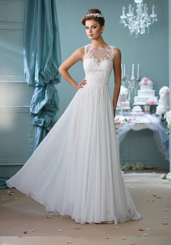 Sleeveless chiffon A-line gown, illusion jewel neckline over a hand ...