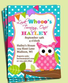 Girl Owl Invitation Printable or Printed with FREE SHIPPING