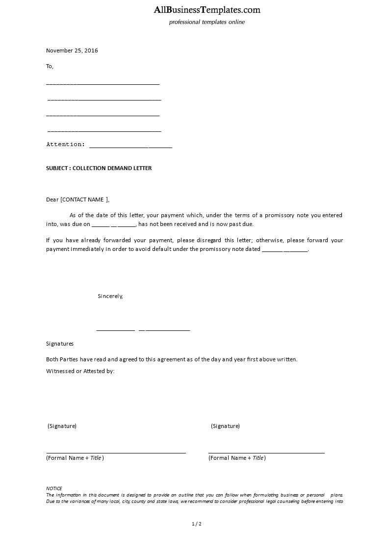 Collection Demand Letter Debt collection letter – Collection Letter Template