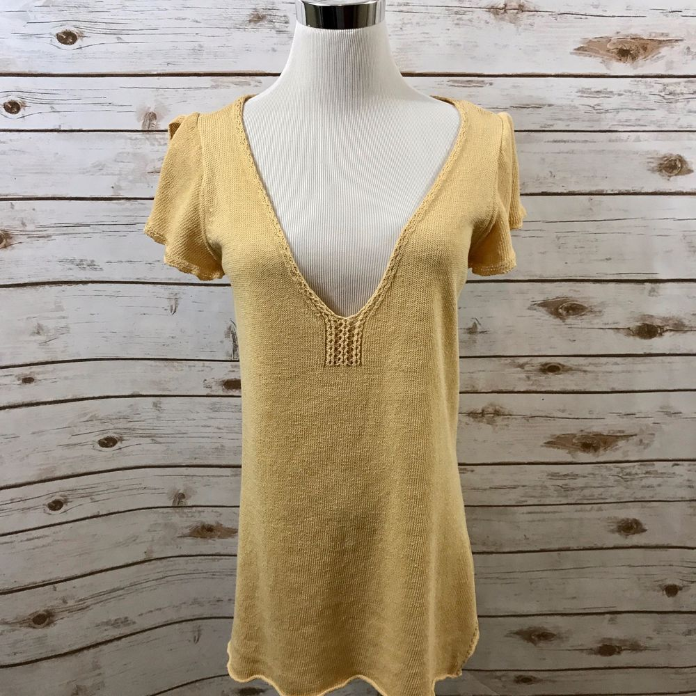 Womens Ralph Lauren Polo LARGE Linen Blend Knit Top Cap Sleeve Crochet Edging #RalphLauren #TankCami #Casual