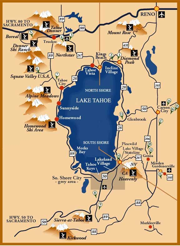 Bewitching image with printable map of lake tahoe
