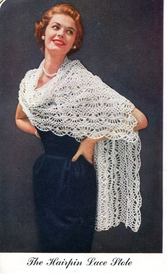 1950s Hairpin Lace Evening Stole Or Wrap Pdf Pattern Instant