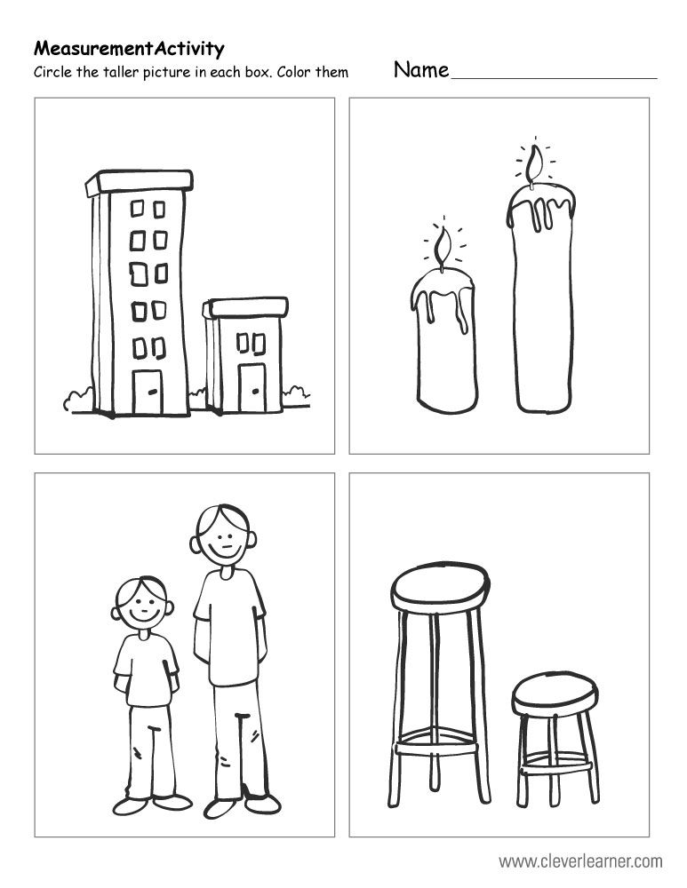 Measurement Worksheets Tall And Short 1b Jpg 773 1000 Kindergarten Worksheets Printable Math Activities Preschool Kindergarten Math Activities