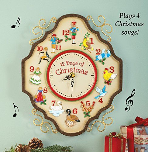 Musical 12 Days Of Christmas Wall Clock Wall S Furniture Decor Christmas Clock 12 Days Of Christmas Indoor Christmas Decorations