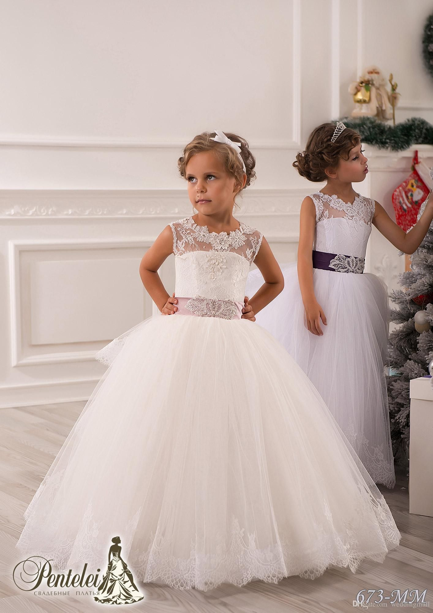 0141 Lace Crystals Sheer Neck Ball Gown Tulle Baby Girl Birthday ...