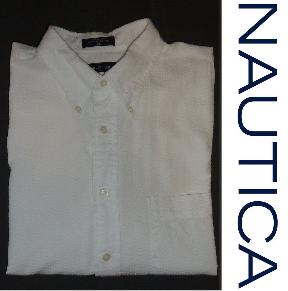 NAUTICA Short Sleeve Men's Shirt XL Extra Large Button Down WHITE Seersucker $70 #NAUTICA