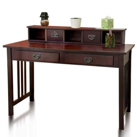 Best Choice Products Writing Desk Mission Cherry Home Office Computer Solid  Wood Construction