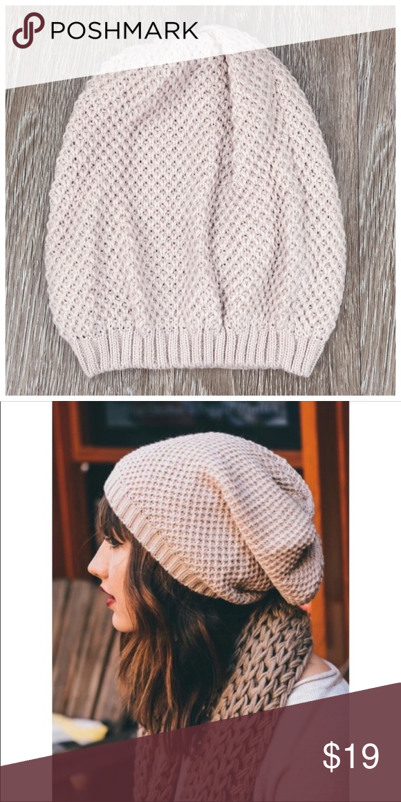86ac32d74e9 New oatmeal waffle knit slouchy beanie hat LAST ONE Kalli Collection  Accessories Hats