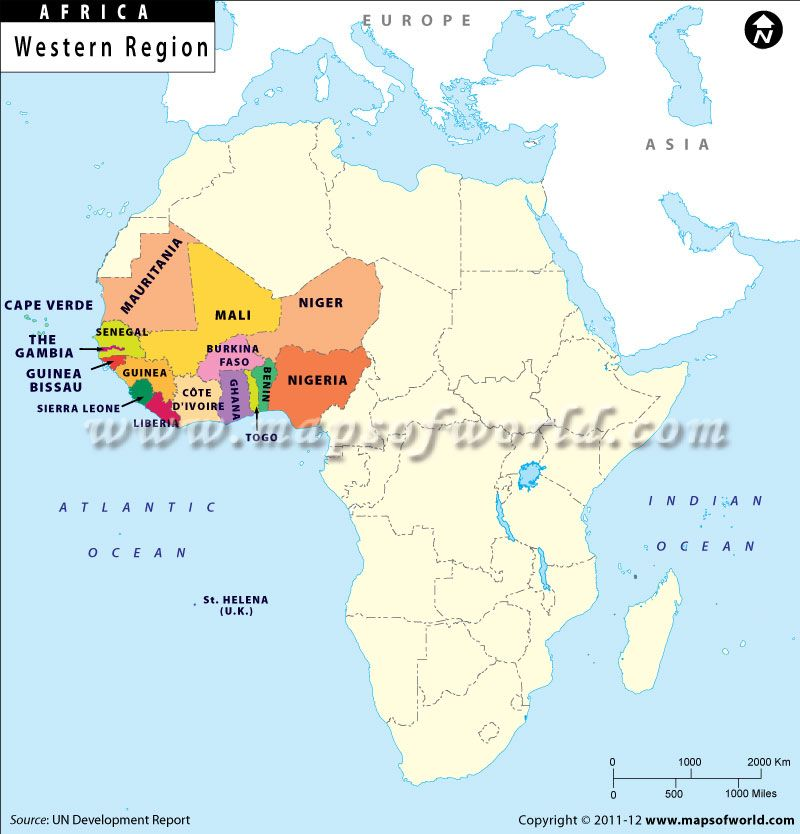 1.This is a picture of the countries in Western Africa. Mali has