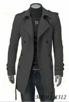 Details about Fashion Men Wool Coat Winter Trench Coat Outear ...