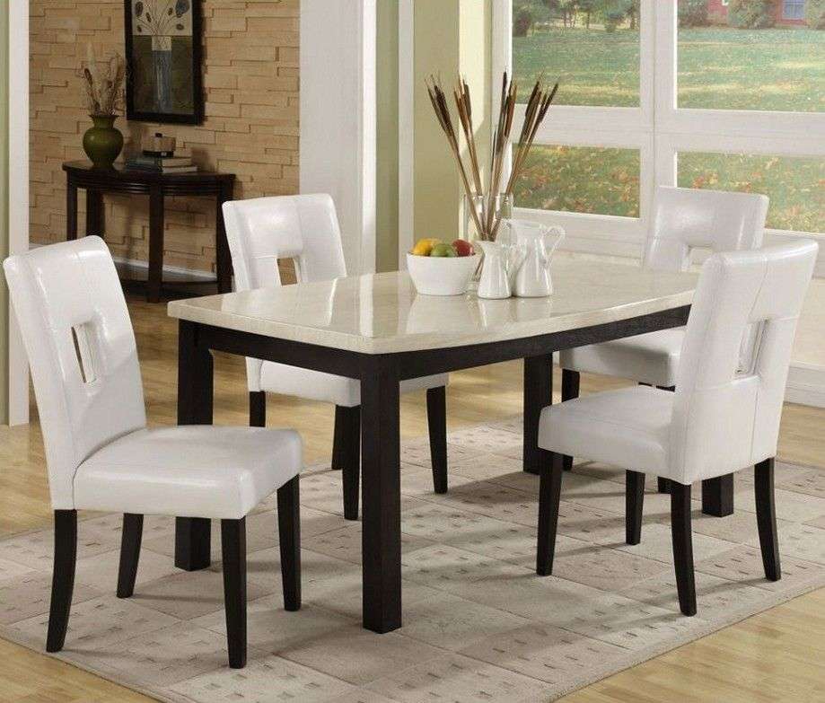 KitchenGrey Modern Rugs White Fabric Dining Chairs