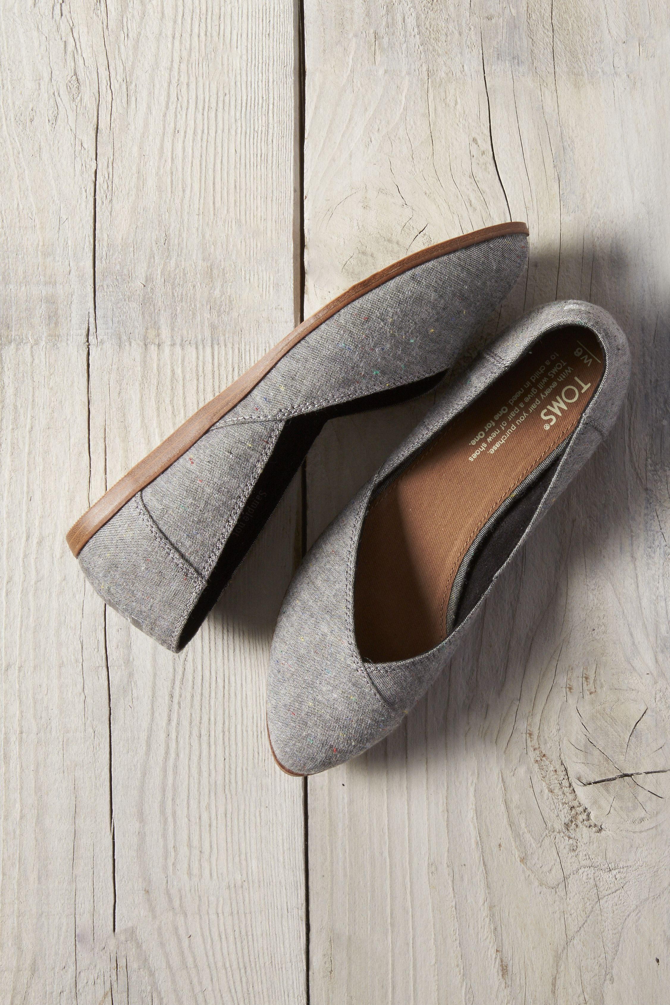 6c3be30d0a8 Comfort is key in vegan Black Multi Speckle Chambray TOMS Jutti Flats.