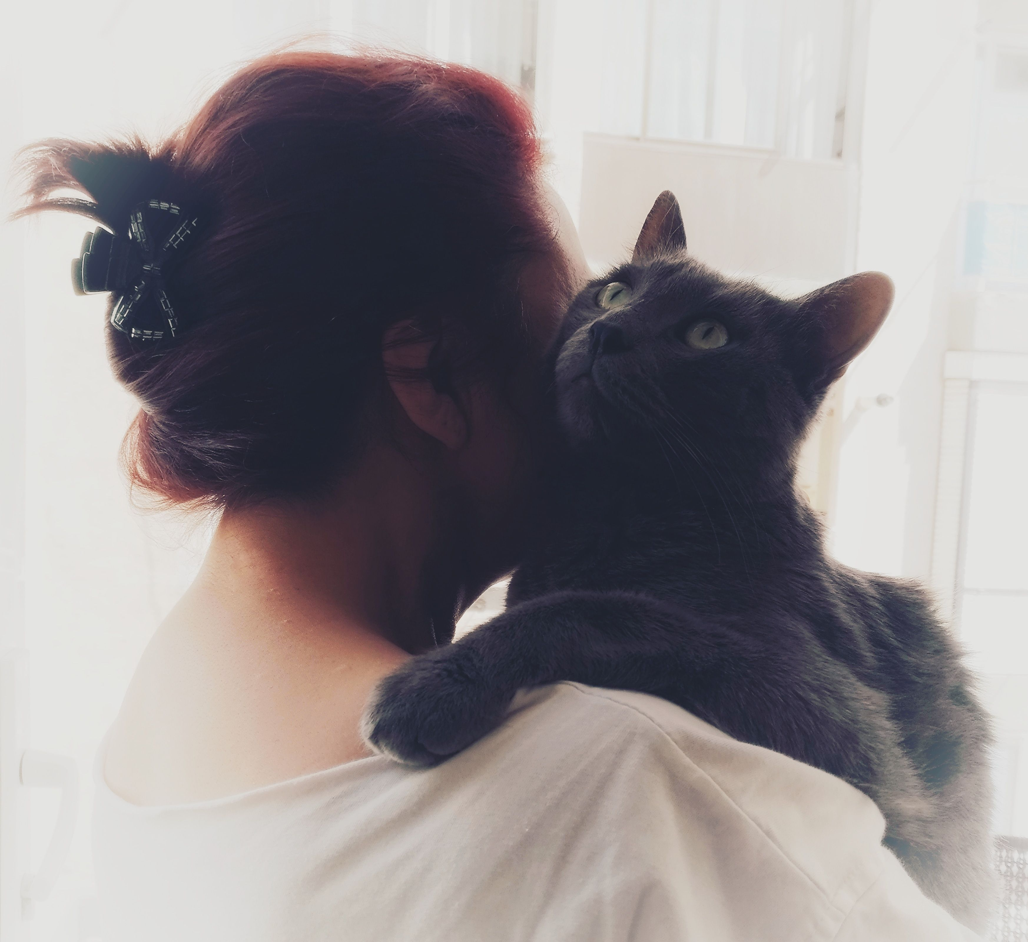 Mom and her cat (which she didn't wantneed or like) http