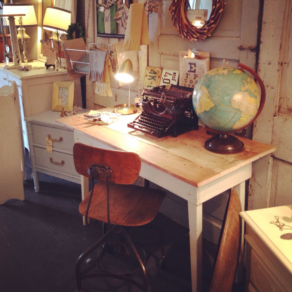Rustic Desk With Vintage Chair At Southern Honey Work Nashville Tn