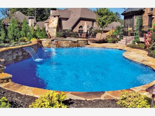 free form pool home and garden design idea 39 s outdoor spaces we love blue haven pools. Black Bedroom Furniture Sets. Home Design Ideas