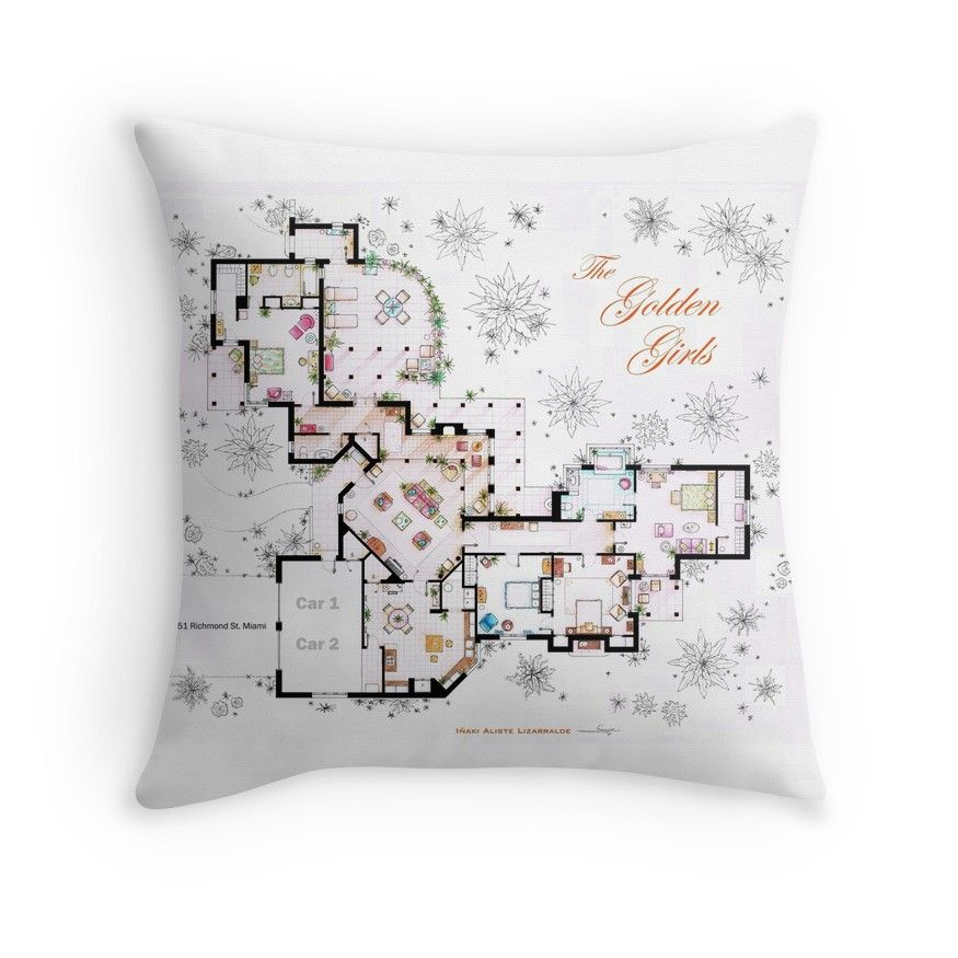 The Golden Girls House floorplan v 1 Throw Pillow