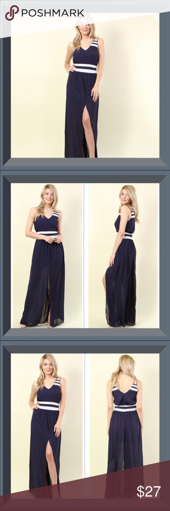 fb6642dd808 Slits and Stripes Maxi Dress Sawyer Slits   Stripes Maxi Dress Solid  chiffon center slit maxi