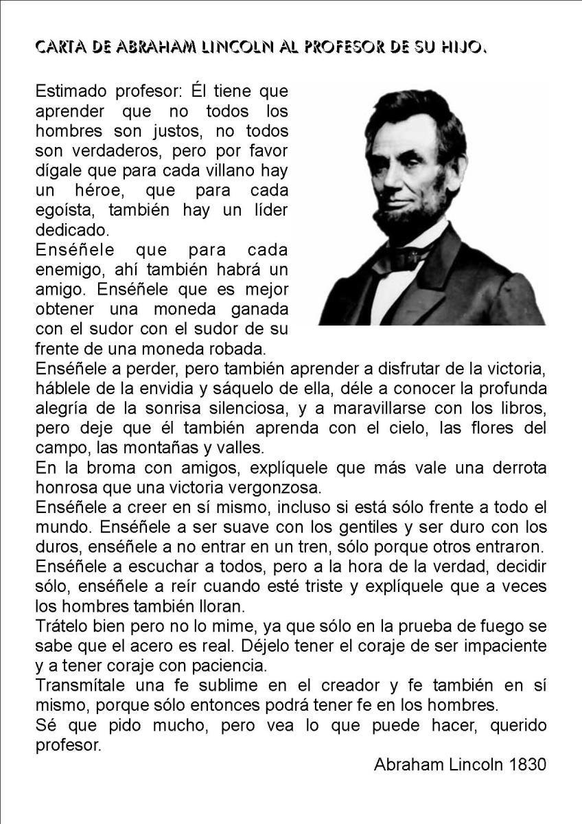 Resultado De Imagen De Carta De Abraham Lincoln Al Profesor De Su Hijo Frases De Educacion Frases Educativas Frases De Enseñanza