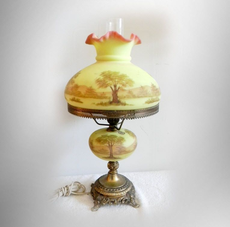 Fenton Art Glass Hand Painted Burmese Table Lamp   Country Scene   FREE  SHIPPING #Fenton