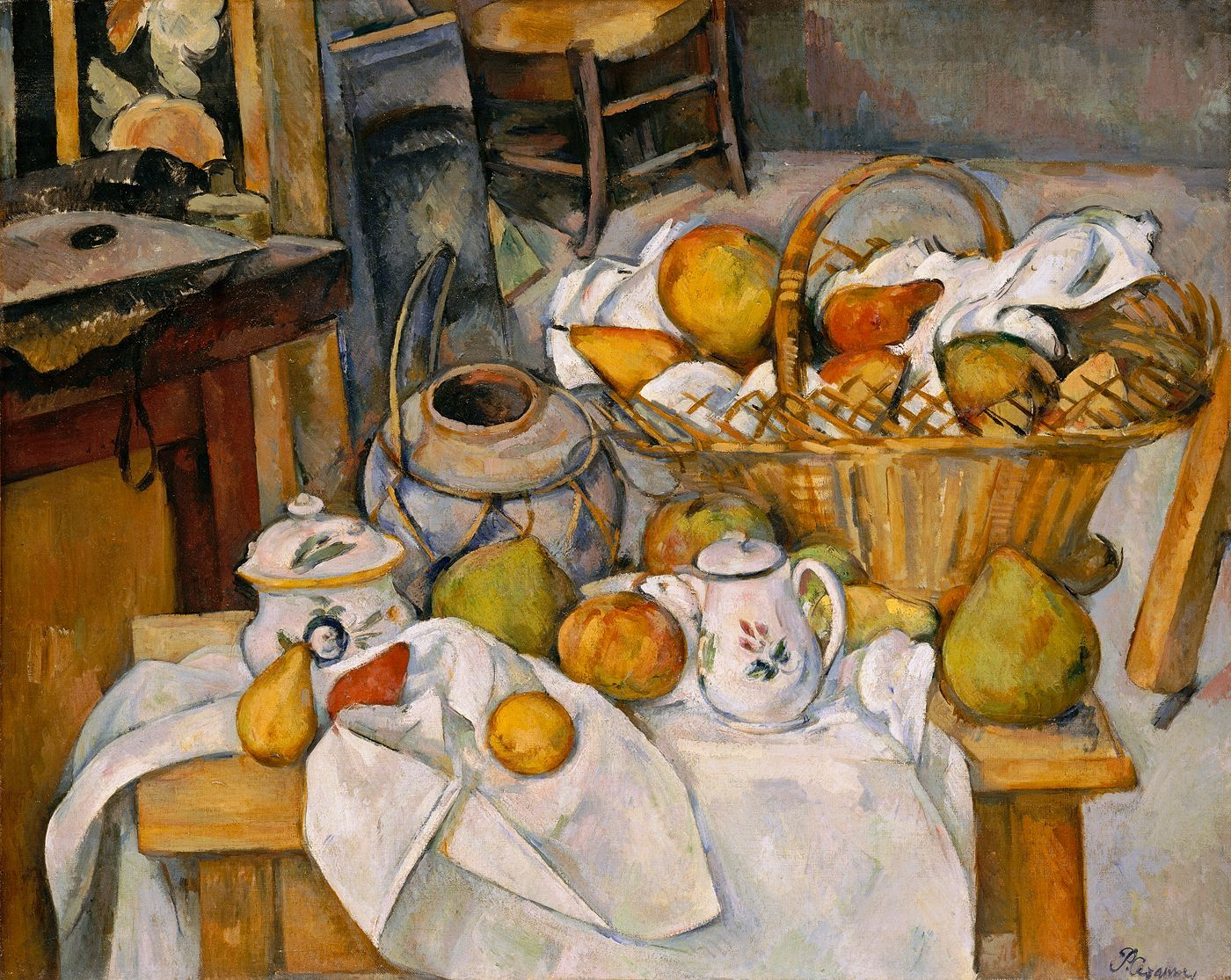 paul cezanne la table de cuisine nature morte au panier. Black Bedroom Furniture Sets. Home Design Ideas