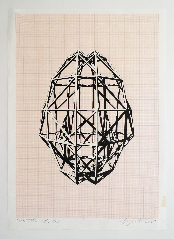 EMI/SYM/01/VAR160   ink, pencil & lacquer marker on millimeter paper   42 x 59,4 cm (unique)   Peter Jellitsch 2011