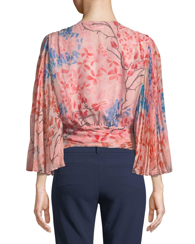 3285823e68602 Alice + Olivia Bray Pleated-Sleeve Floral-Print Silk Wrap Blouse ...