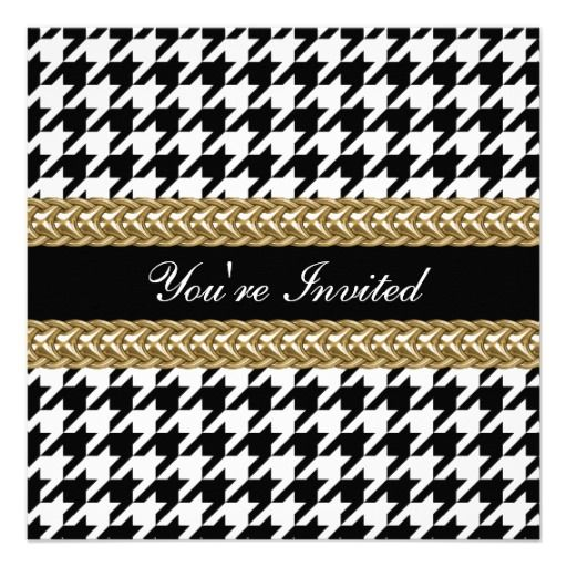 See MoreElegant Houndstooth Black White Gold Party InviteIn our offer link above you will see
