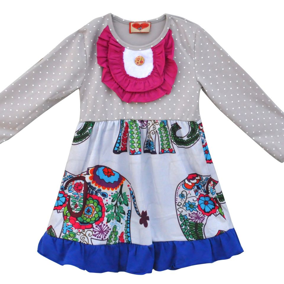 Hot Sale Children Girls Long Sleeve Dress With Elephant Knitted